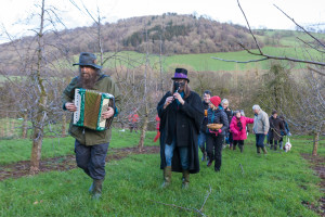 Wassail procession at Apple County Cider