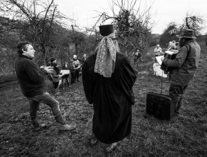 Gathered around the ceremonial wassail tree
