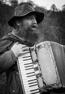 Portrait of Morris and his accordion