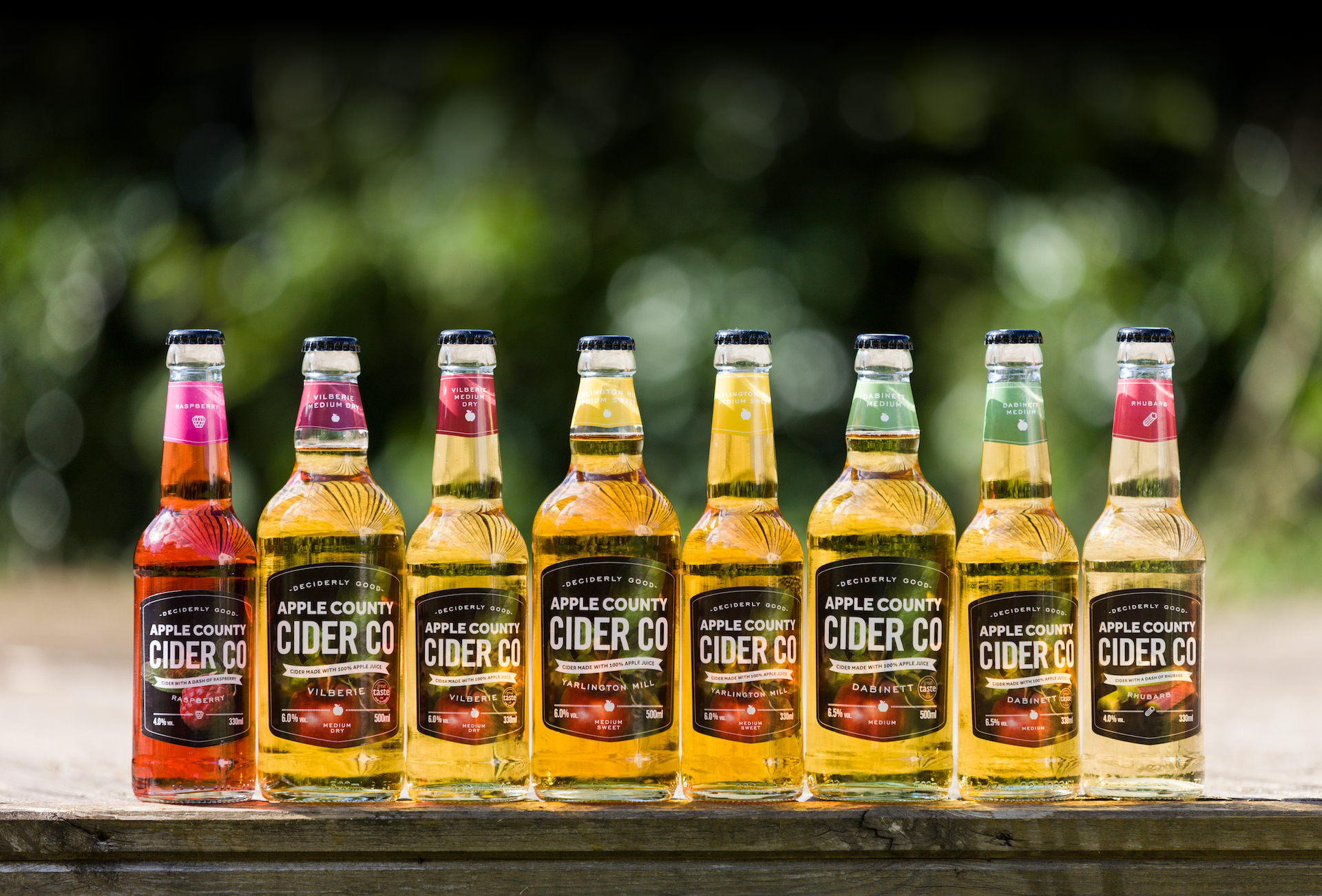 The full range of 2017 Apple County Cider Company ciders in bottles
