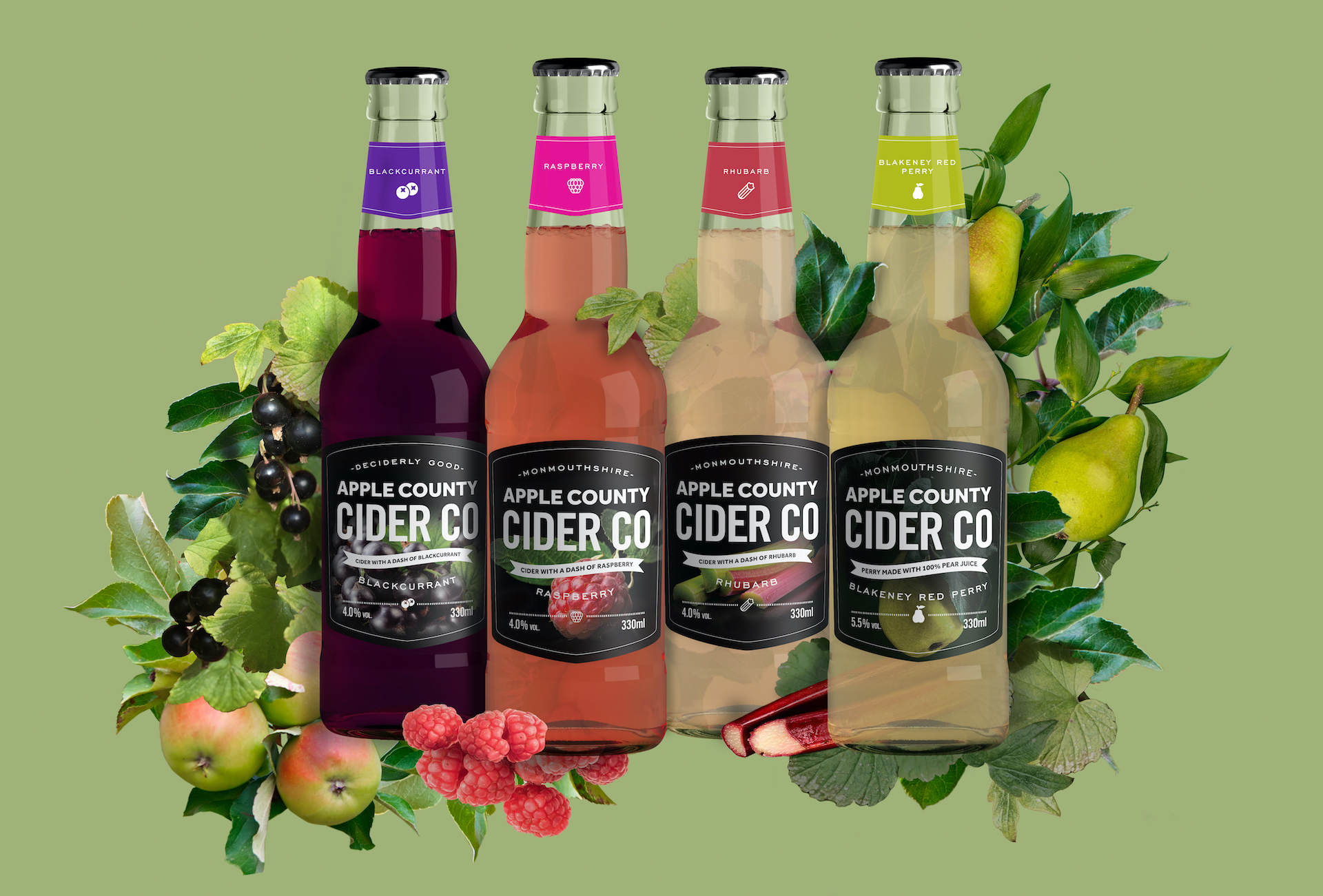 The range of Apple County Cider Company fruit ciders in bottles