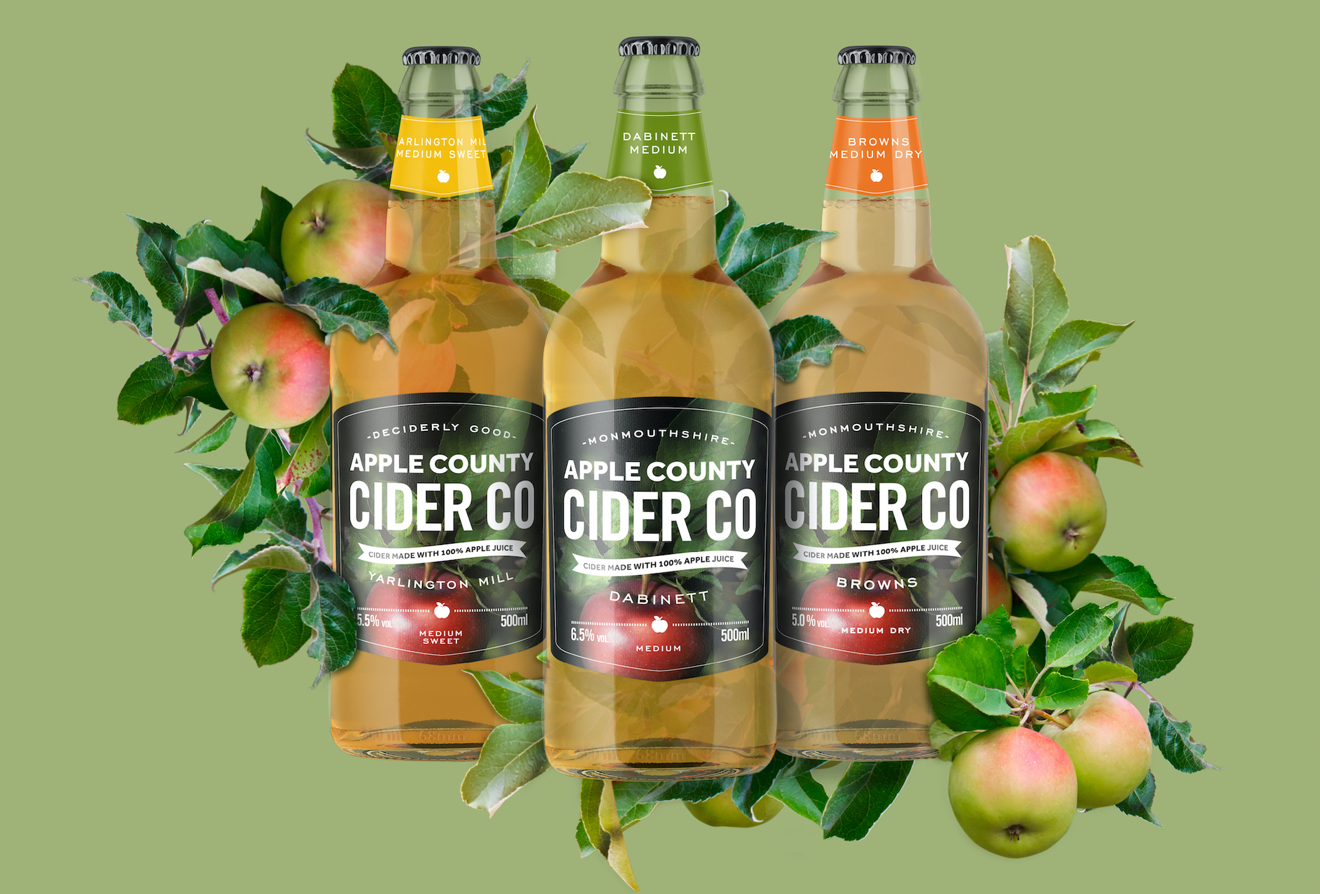The main range of Apple County Cider Company ciders in bottles